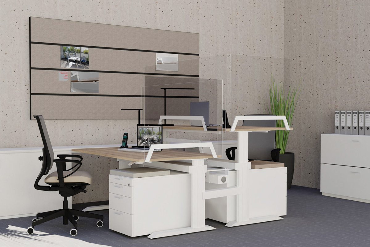 LEUWICO iMove Glastrennwand Schreibtisch