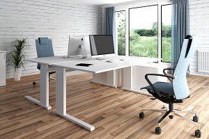 Manuell höhenverstellbare Schreibtische - Ergonomische Büromöbel von LEUWICO